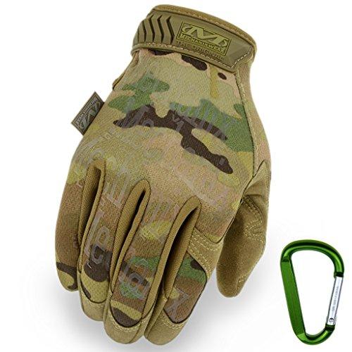 MECHANIX WEAR ORIGINAL Einsatz-Handschuhe, atmungsaktiv & abriebfest + Gear-Karabiner, Original Glove in Schwarz, Coyote, Multicam / Größe S, M, L, XL (L, Multicam)