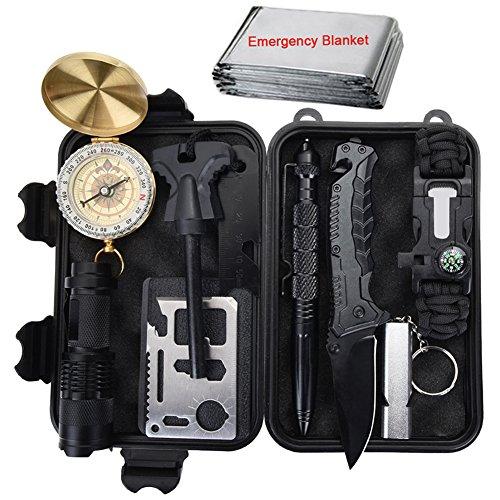 Outdoor Survival Kit 11 in 1, Emergency Survival Gear Tool mit Messer, Kompass, Notfall Decke, Feuer Starter, Taschenlampe, Whistle, Tactical Pen etc für Camping, Wandern, Klettern, Ausflüge