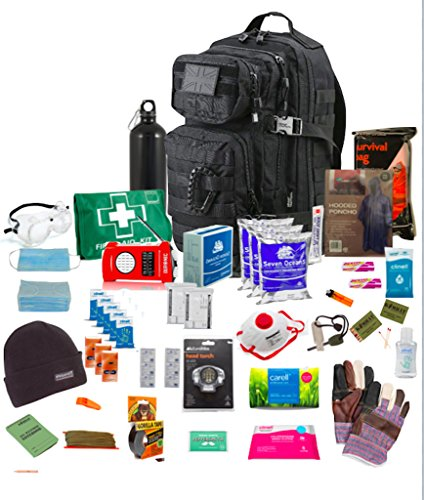 Bug Out Bag ( Black ) One Person 72hr Emergency Kit, Essential for this day and age (Black)